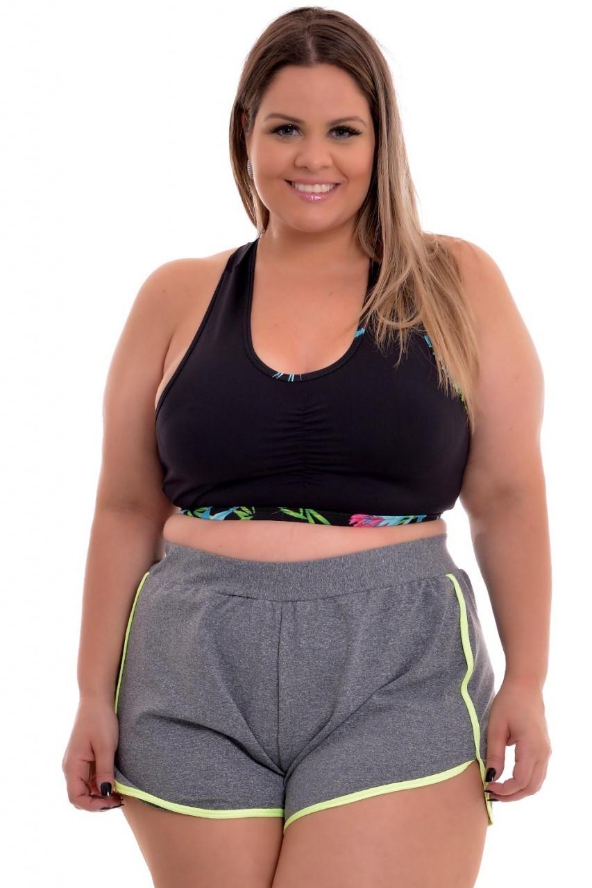 Short Plus Size Fitness Limão